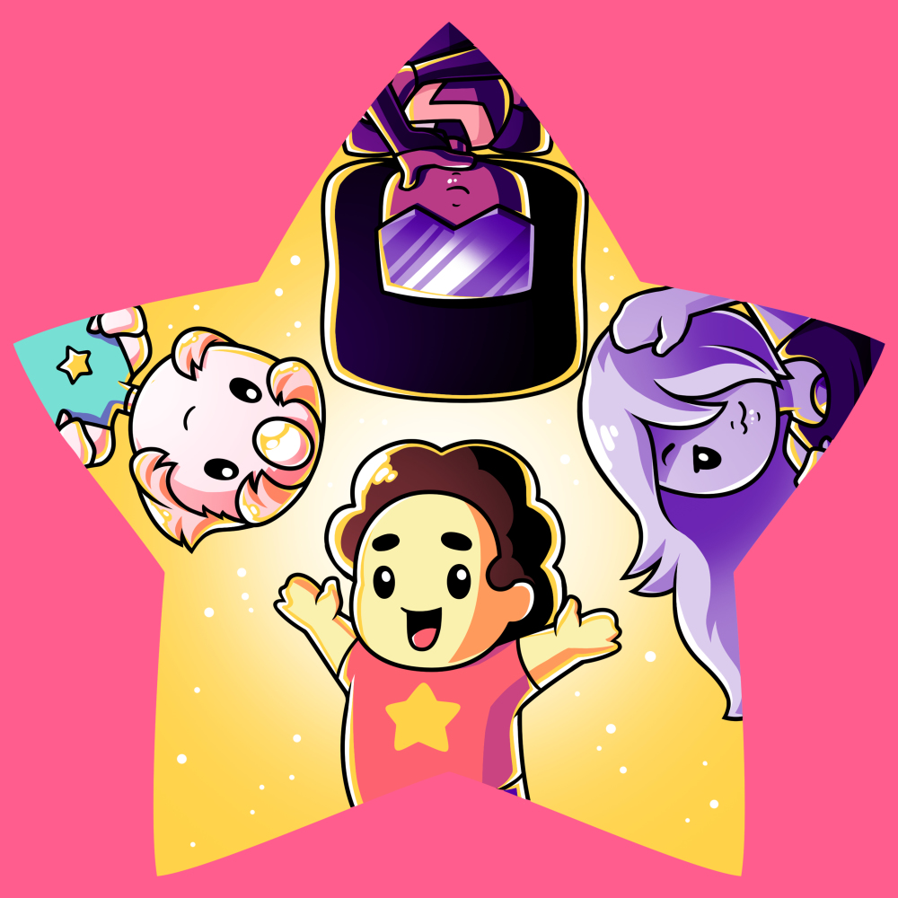 The Crystal Gem t-shirt TeeTurtle Steven Universe pink t-shirt featuring Steven Universe, Pearl, Garnet, and Amethyst