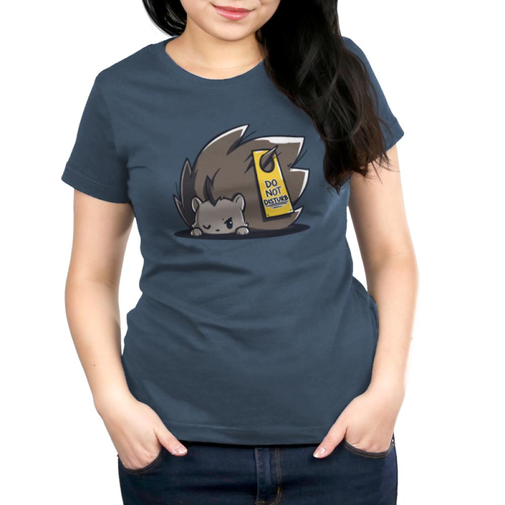 Do Not Disturb Women's t-shirt model TeeTurtle indigo t-shirt featuring a hedgehog sleeping with a do not disturb sign on his back