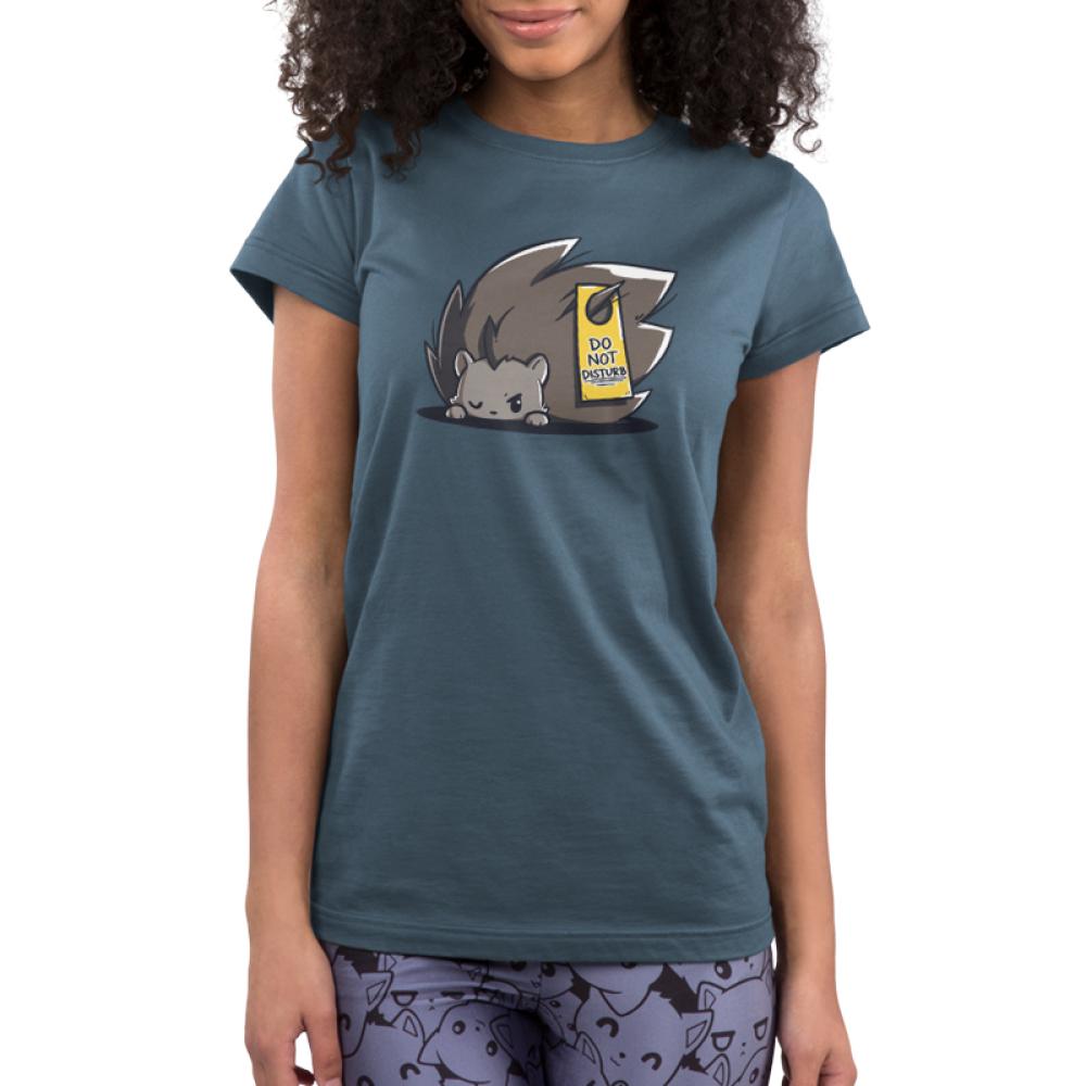 Do Not Disturb Junior's t-shirt model TeeTurtle indigo t-shirt featuring a hedgehog sleeping with a do not disturb sign on his back