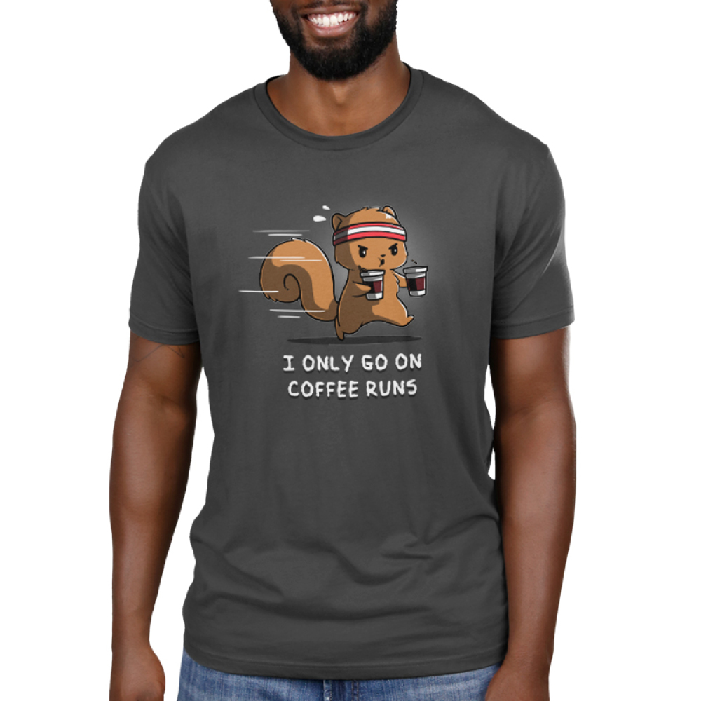 I Only Go On Coffee Runs Men's t-shirt model TeeTurtle gray t-shirt featuring a squirrel running with two coffee cups