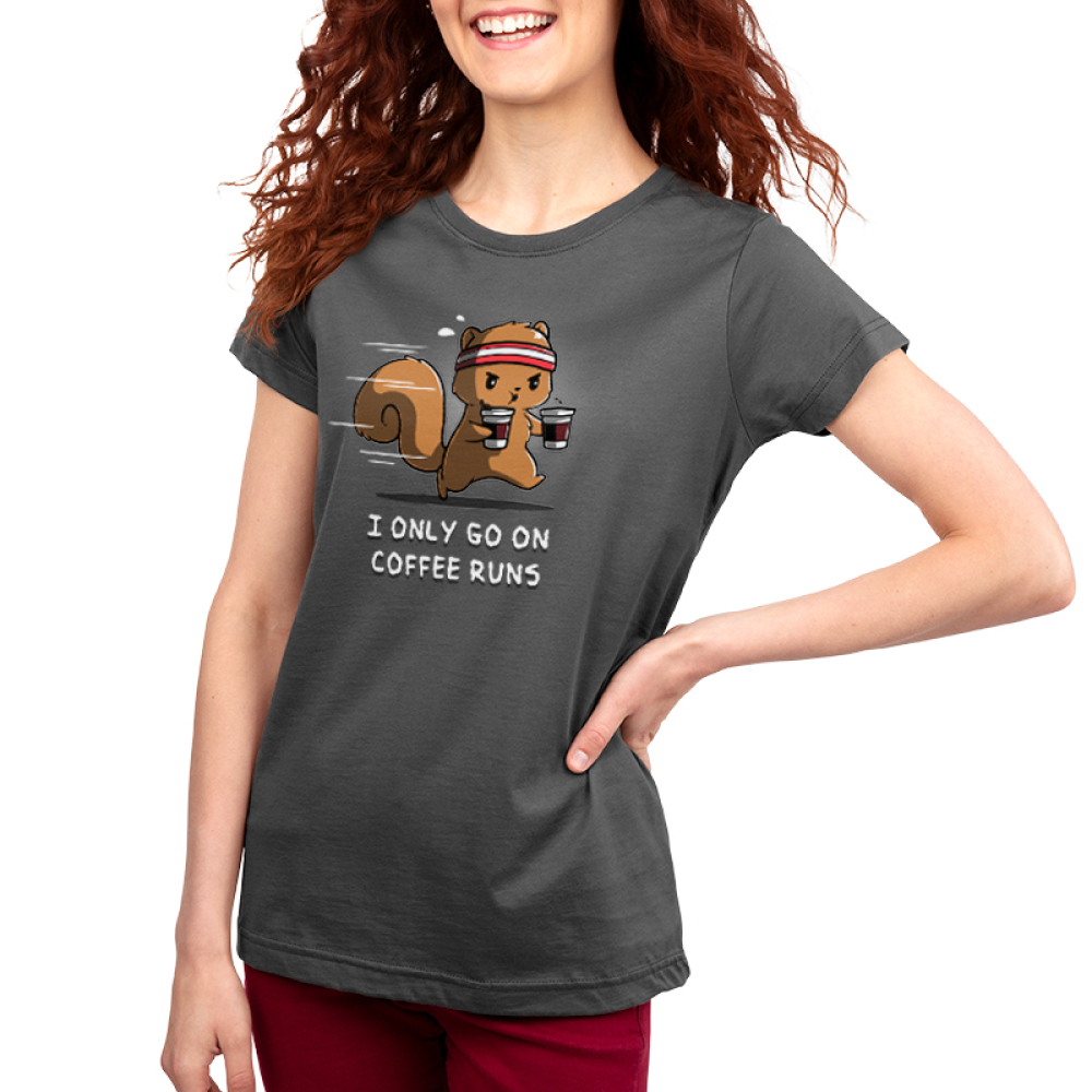 I Only Go On Coffee Runs Women's t-shirt model TeeTurtle gray t-shirt featuring a squirrel running with two coffee cups