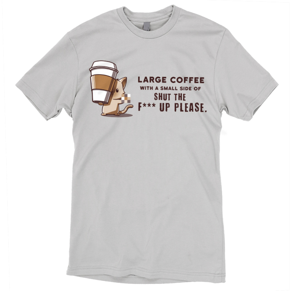Large Coffee Please t-shirt TeeTurtle gray t-shirt featuring a mouse with a big coffee cup in his paws
