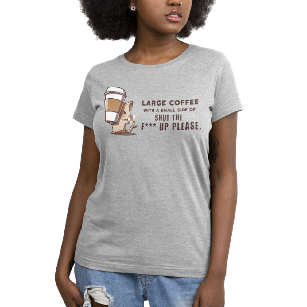 Large Coffee Please Women's t-shirt model TeeTurtle gray t-shirt featuring a mouse with a big coffee cup in his paws