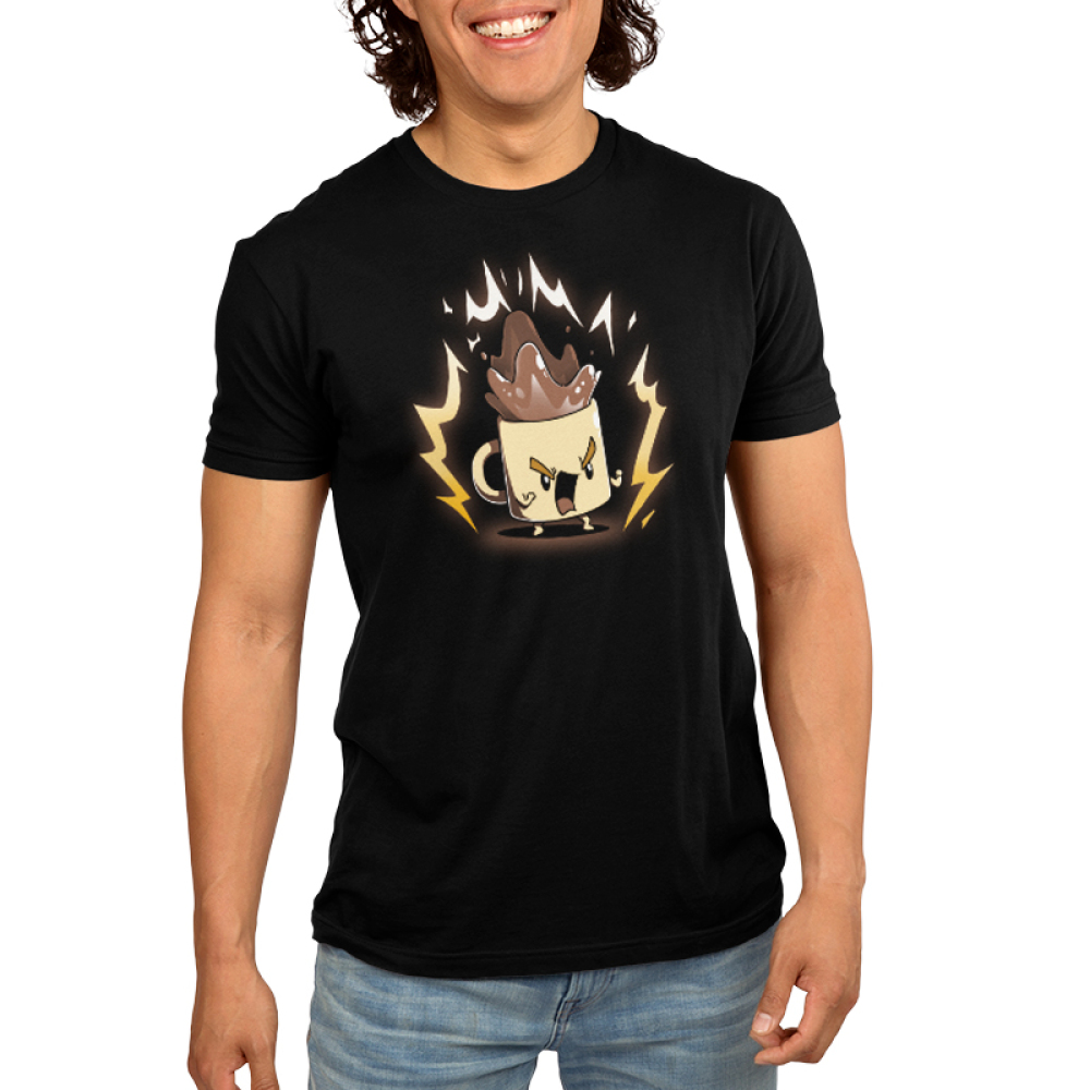 Super Coffee t-shirt Men's black TeeTurtle t-shirt model featuring an animate coffee cup with coffee shooting out the top with lightening bolts surrounding it