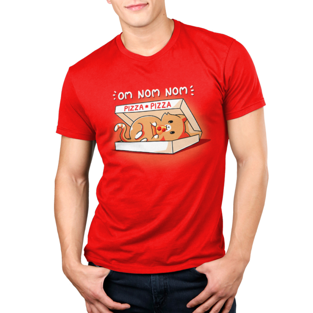 Om Nom Nom Men's t-shirt model TeeTurtle red t-shirt featuring a cat in a pizza box eating a slice of pizza