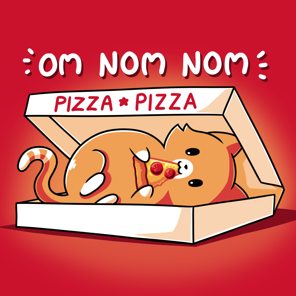 Om Nom Nom t-shirt TeeTurtle red t-shirt featuring a cat in a pizza box eating a slice of pizza