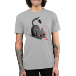 Trained Assassin Men's t-shirt model TeeTurtle gray t-shirt featuring a cat starring at a beam from a laser strapped to his tail