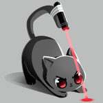 Trained Assassin t-shirt TeeTurtle gray t-shirt featuring a cat starring at a beam from a laser strapped to his tail
