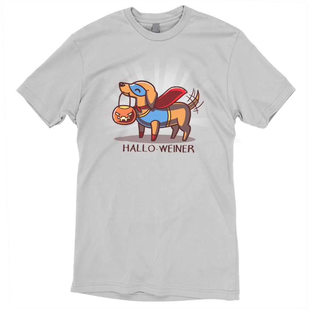 Hallo-Weinter t-shirt TeeTurtle gray t-shirt featuring a dog dressed in a super hero costume with a pumpkin candy basket in his mouth