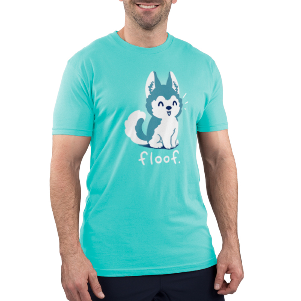 Floof Men's t-shirt model TeeTurtle teal t-shirt featuring a happy Husky puppy