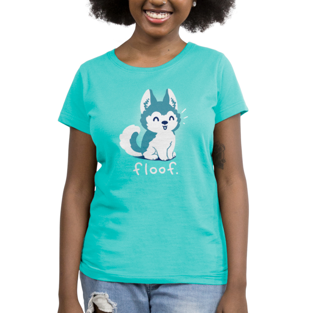 Floof Women's t-shirt model TeeTurtle teal t-shirt featuring a happy Husky puppy