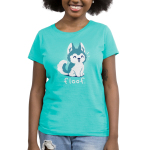 Floof Women's t-shirt model TeeTurtle teal t-shirt featuring a happy Husky puppy