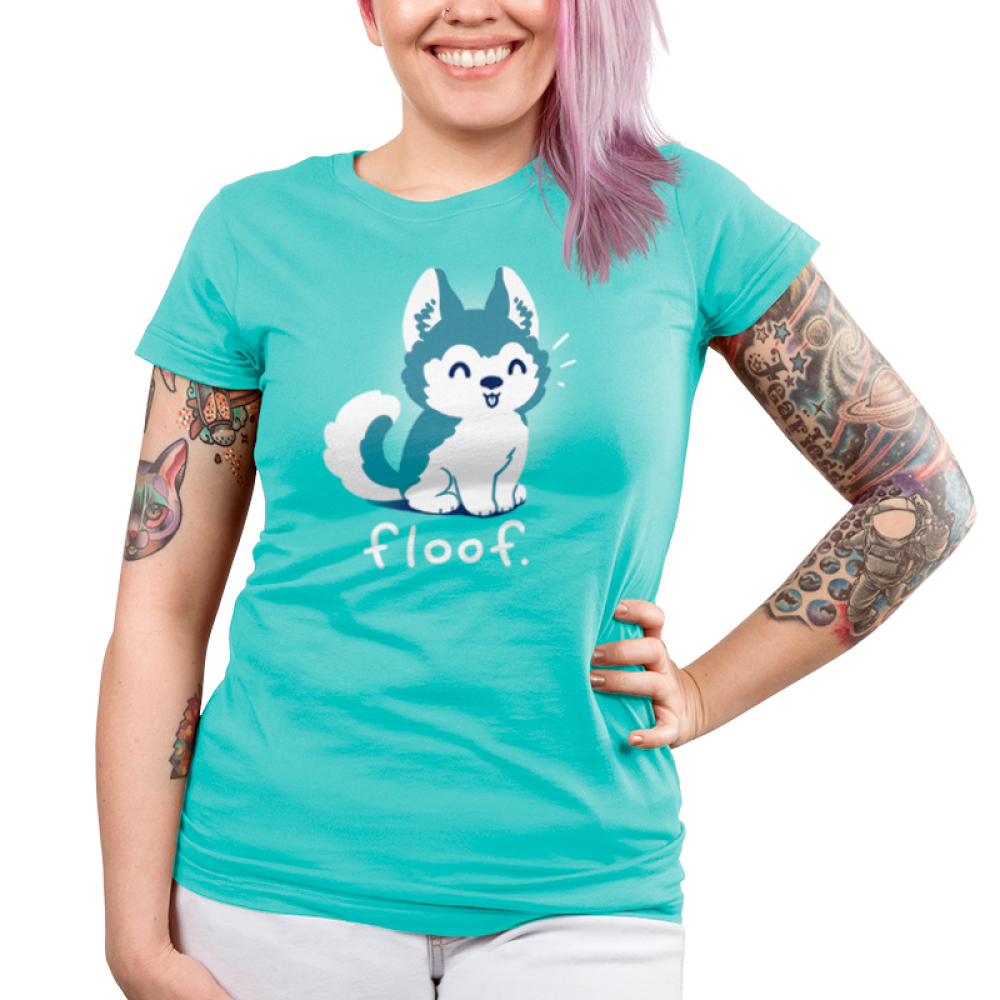 Floof Junior's t-shirt model TeeTurtle teal t-shirt featuring a happy Husky puppy
