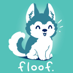 Floof t-shirt TeeTurtle teal t-shirt featuring a happy Husky puppy