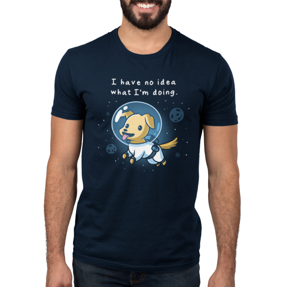 I Have No Idea What I'm Doing Men's t-shirt model TeeTurtle navy t-shirt featuring a puppy in space with an astronaut suit on with planets and stars around him