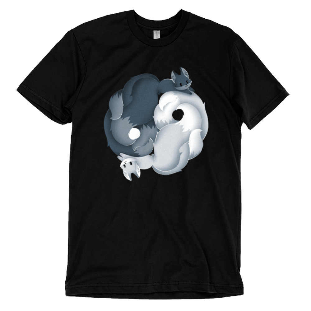 Yin Yang Kitsune t-shirt TeeTurtle black t-shirt featuring a dark grey fox and a flight gray fox intertwined to create a yin and yang sign