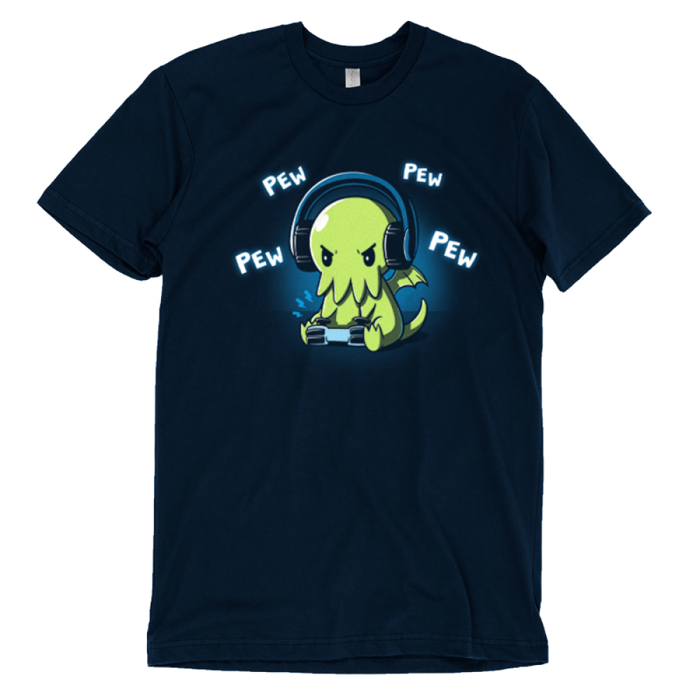 Pew Pew Cthulhu t-shirt TeeTurtle navy t-shirt featuring a cthulhu playing a video game with the words pew pew pew around him