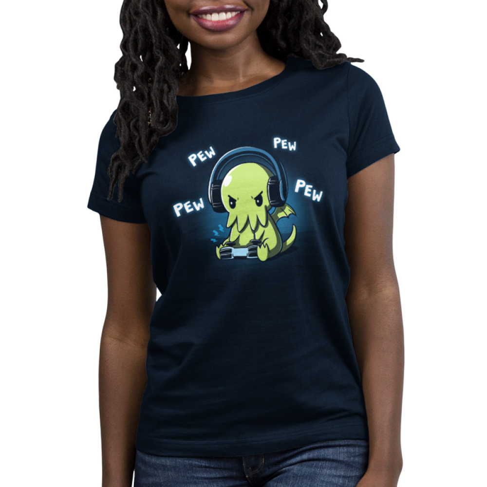 Pew Pew Cthulhu Women's t-shirt model TeeTurtle navy t-shirt featuring a cthulhu playing a video game with the words pew pew pew around him