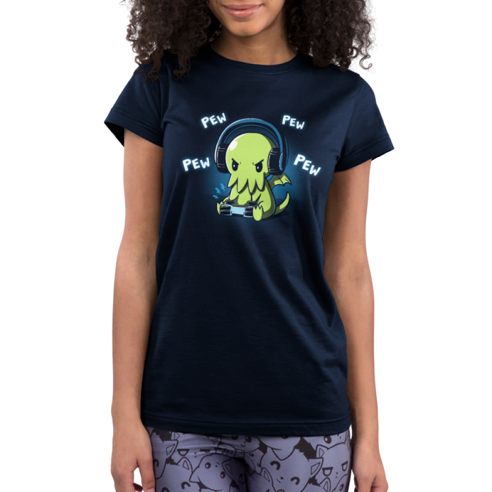 Pew Pew Cthulhu Junior's t-shirt model TeeTurtle navy t-shirt featuring a cthulhu playing a video game with the words pew pew pew around him