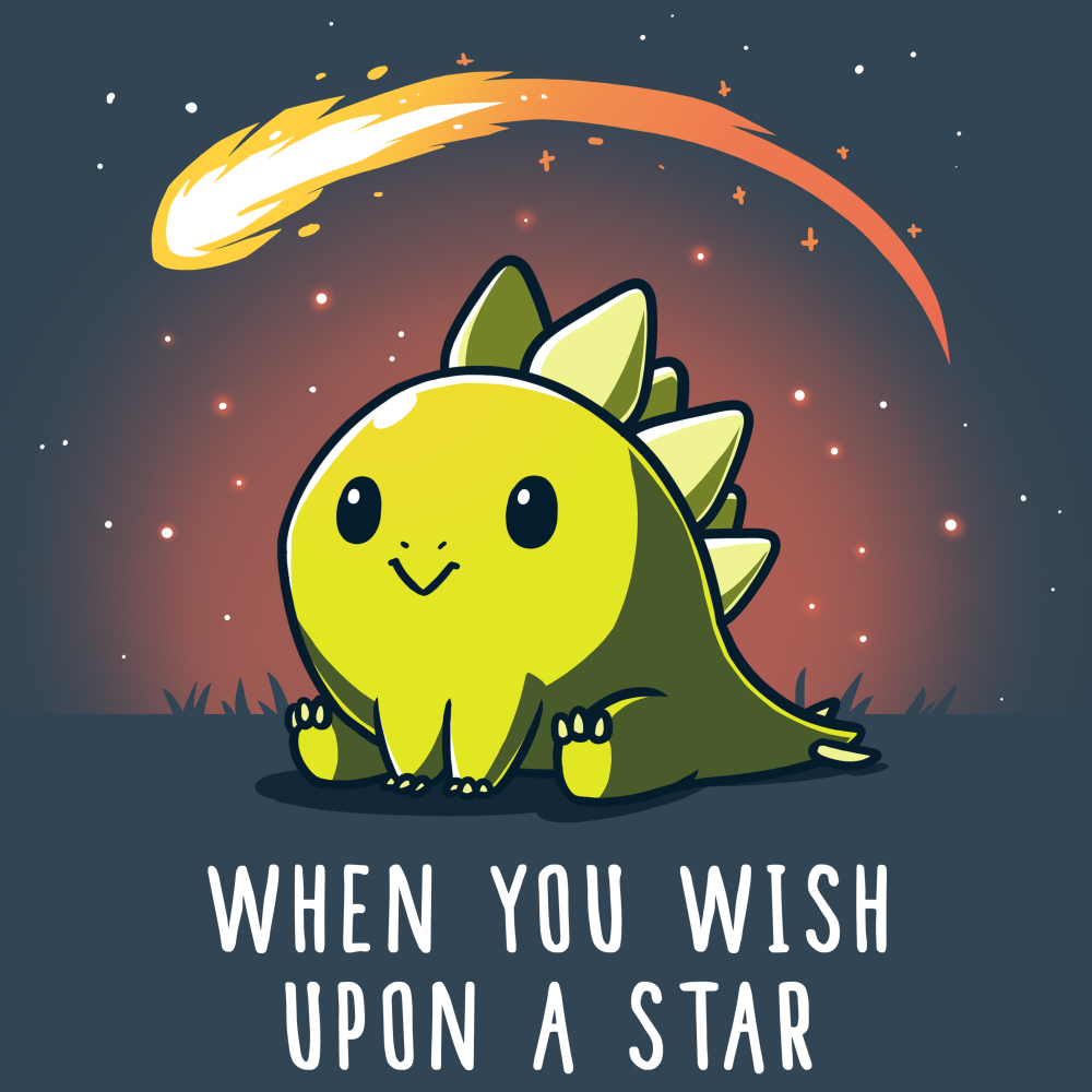 When You Wish Upon a Star t-shirt TeeTurtle indigo t-shirt featuring a dinosaur sitting in the grass with a meteor flying by