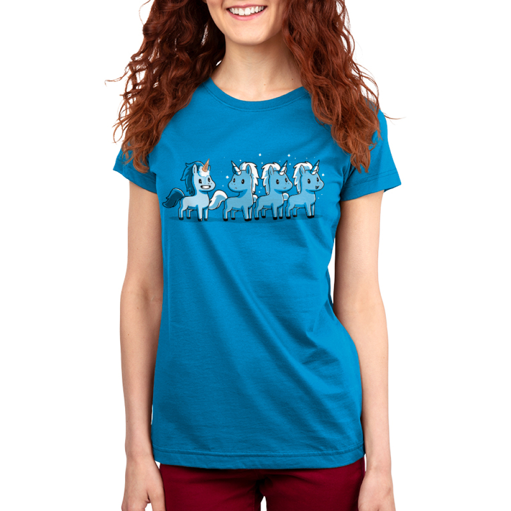 Ice Cream Cone-icorn Women's t-shirt model TeeTurtle turquoise t-shirt featuring four blue unicorns with one with an ice cream cone on his head