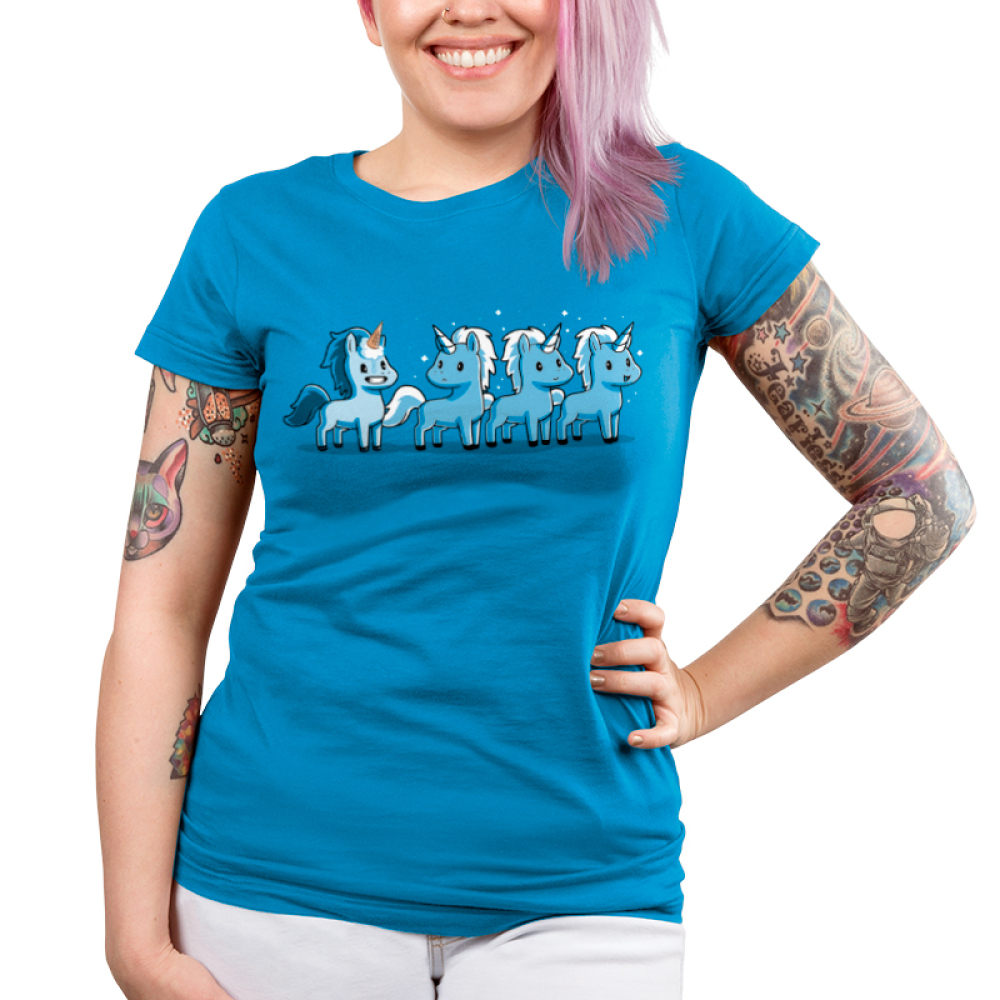 Ice Cream Cone-icorn Junior's t-shirt model TeeTurtle turquoise t-shirt featuring four blue unicorns with one with an ice cream cone on his head