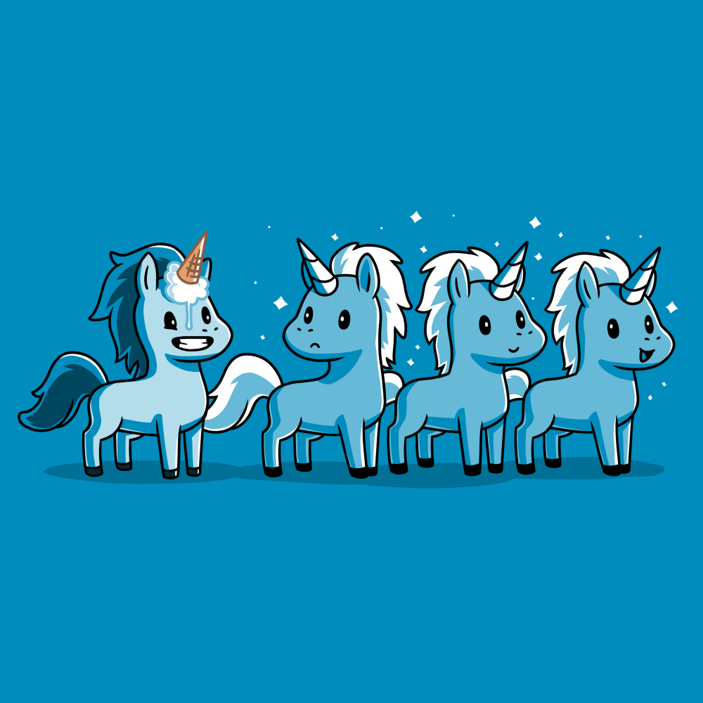 Ice Cream Cone-icorn t-shirt TeeTurtle turquoise t-shirt featuring four blue unicorns with one with an ice cream cone on his head