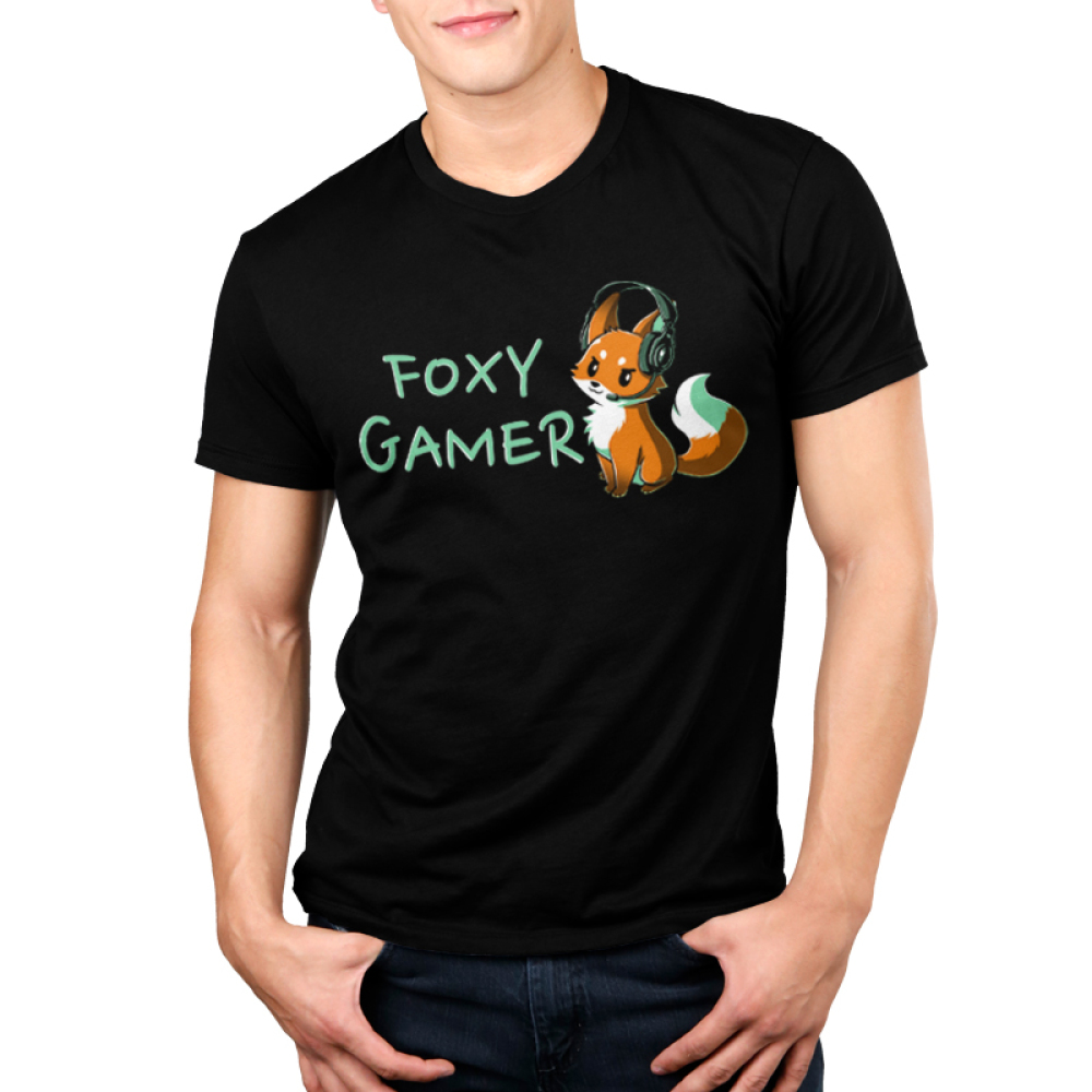 Foxy Gamer Men's t-shirt model TeeTurtle black t-shirt featuring a fox with a gaming head set on