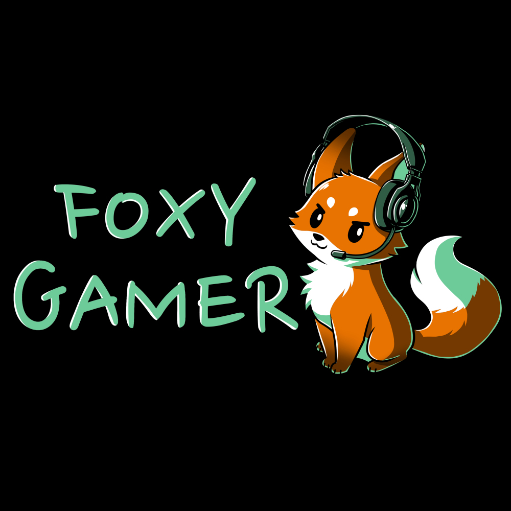 Foxy Gamer t-shirt TeeTurtle black t-shirt featuring a fox with a gaming head set on