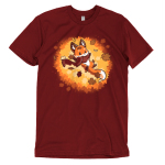 Autumn Fox t-shirt TeeTurtle red t-shirt featuring a fox with a scarf on in a pile of leaves