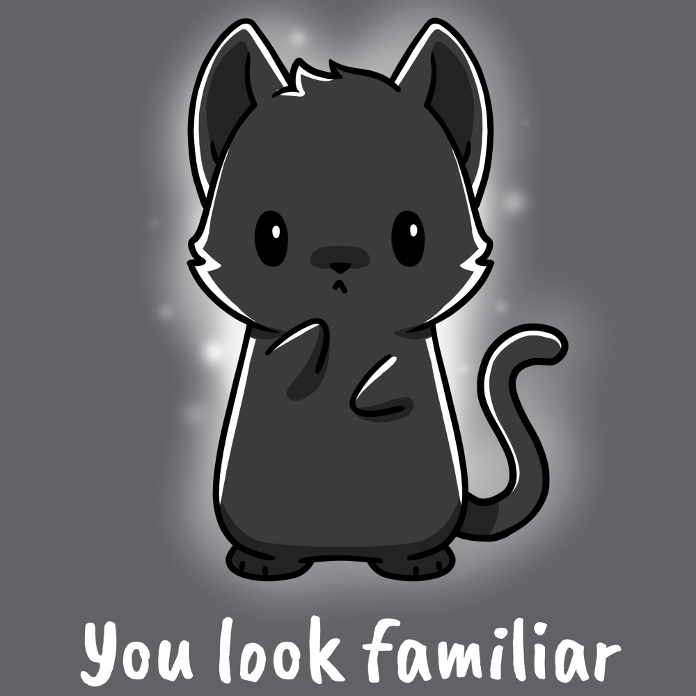 You Look Familiar t-shirt TeeTurtle gray t-shirt featuring a spirit cat