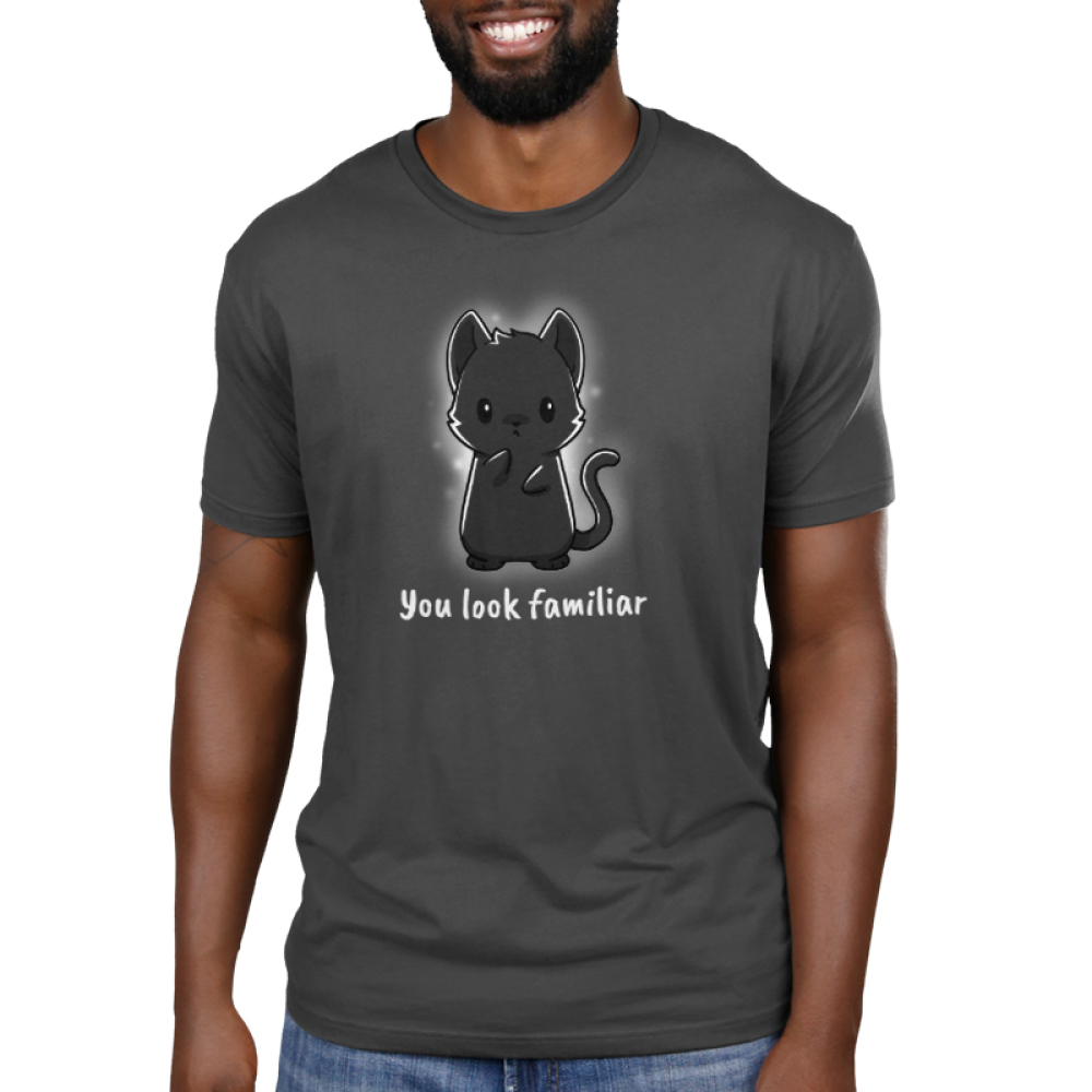 You Look Familiar Men's t-shirt model TeeTurtle gray t-shirt featuring a spirit cat