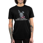Serial-Killery Men's t-shirt model TeeTurtle black t-shirt featuring a bunny with a knife spreading jam on toast with jam all over him