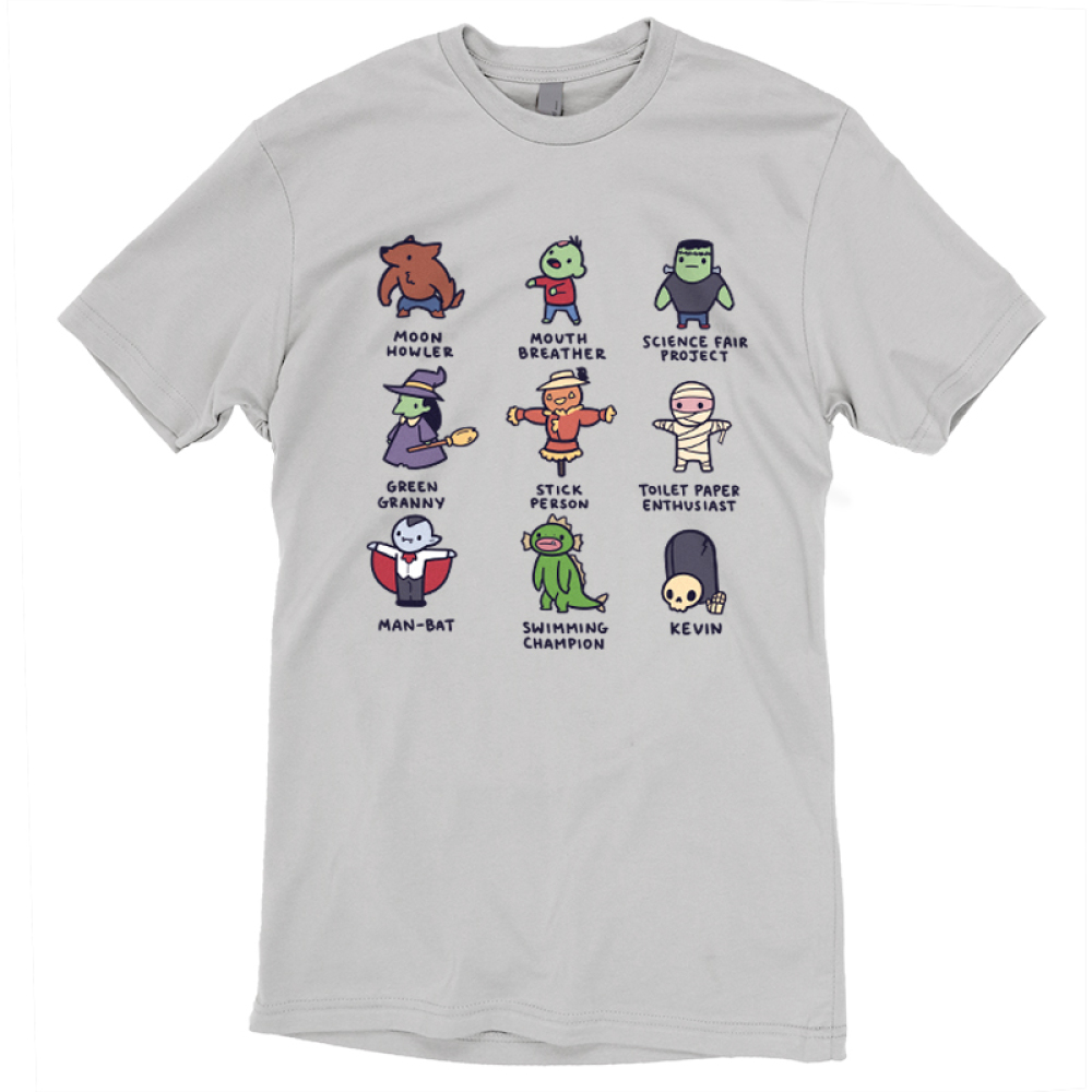Spooky Monsters t-shirt TeeTurtle gray t-shirt featuring a werewolf, a zombie, frankenstein, a witch, a scarecrow, a skeleton, a campire, a swamp creature, and a skeleton