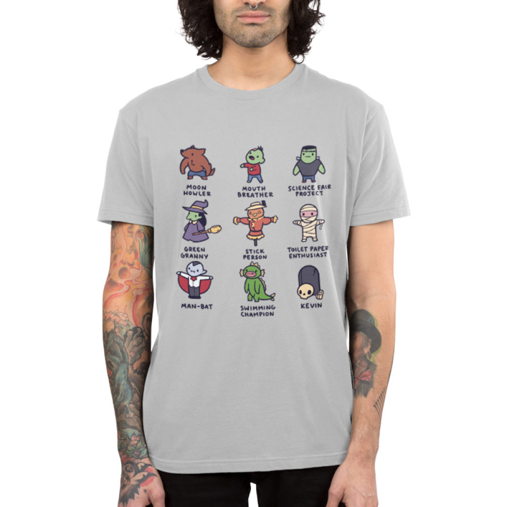 Spooky Monsters Men's t-shirt model TeeTurtle gray t-shirt featuring a werewolf, a zombie, frankenstein, a witch, a scarecrow, a skeleton, a campire, a swamp creature, and a skeleton