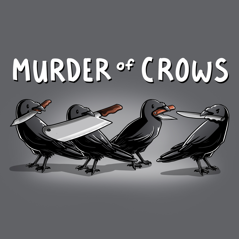 Murder of Crows t-shirt TeeTurtle gray t-shirt featuring four crows with knives in their beaks