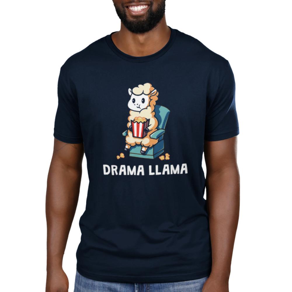 Drama Llama Men's t-shirt model TeeTurtle navy t-shirt featuring a llama sitting on a chair eating popcorn
