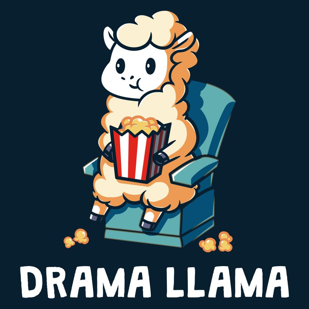 Drama Llama t-shirt TeeTurtle navy t-shirt featuring a llama sitting on a chair eating popcorn