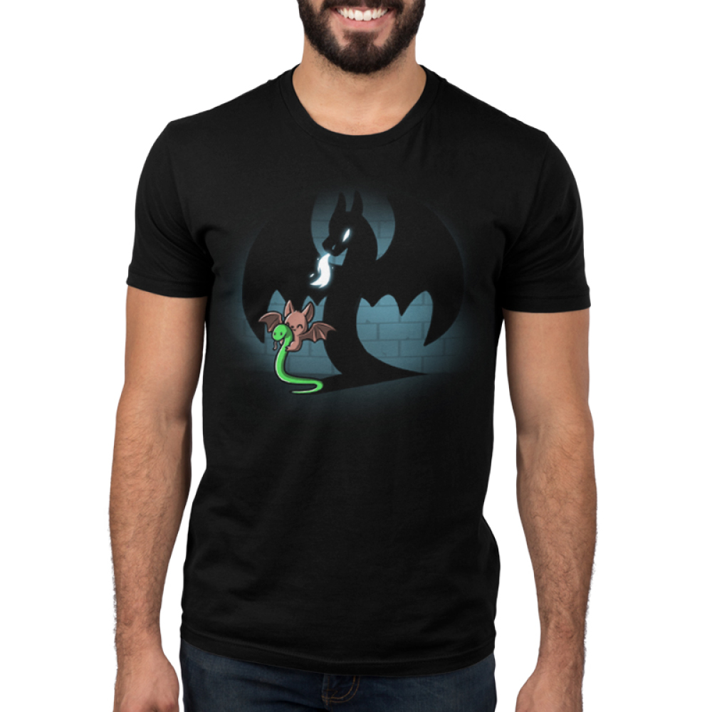 Create Your Reality Men's t-shirt model TeeTurtle black t-shirt featuring a bat holding a snake with a dragon shadow in the background