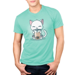 Boba Cat Men's t-shirt model TeeTurtle light turquoise t-shirt featuring a cat drinking a boba tea out of a big straw