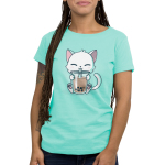 Boba Cat Women's t-shirt model TeeTurtle light turquoise t-shirt featuring a cat drinking a boba tea out of a big straw