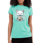 Boba Cat Junior's t-shirt model TeeTurtle light turquoise t-shirt featuring a cat drinking a boba tea out of a big straw