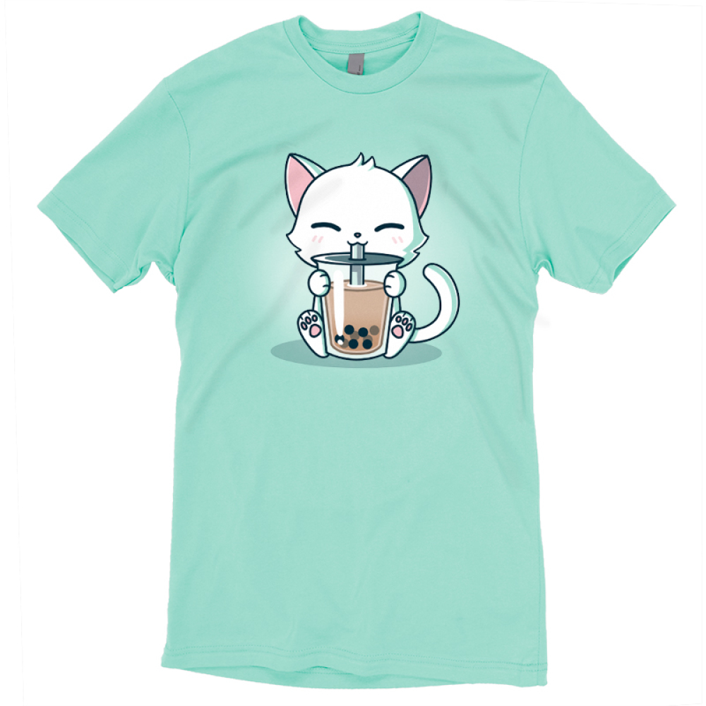 Boba Cat t-shirt TeeTurtle light turquoise t-shirt featuring a cat drinking a boba tea out of a big straw