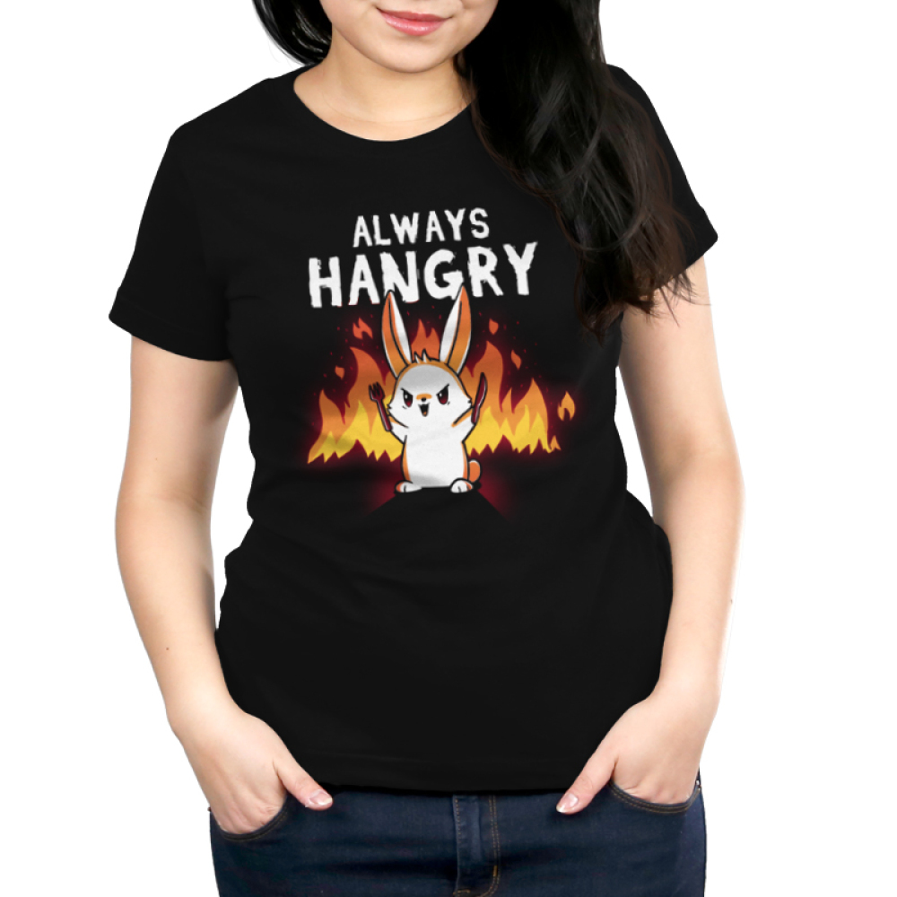 Always Hangry Bunny Women's t-shirt model TeeTurtle black t-shirt featuring an angry bunny holding a knife and fork with fire in the background