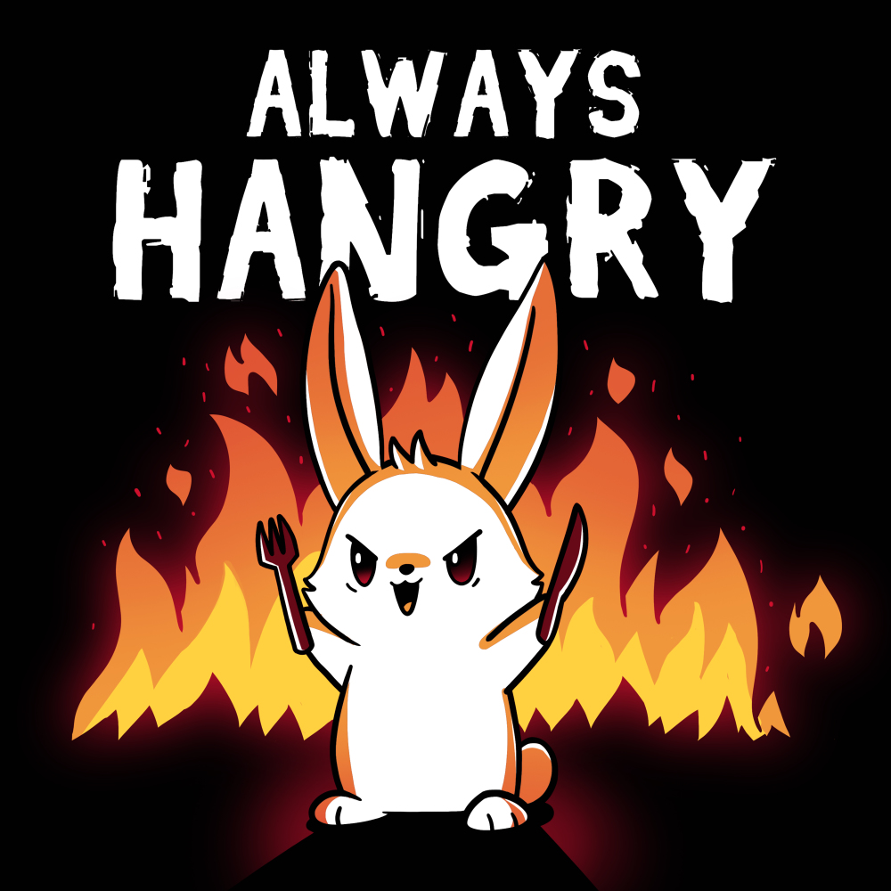 Always Hangry Bunny t-shirt TeeTurtle black t-shirt featuring an angry bunny holding a knife and fork with fire in the background