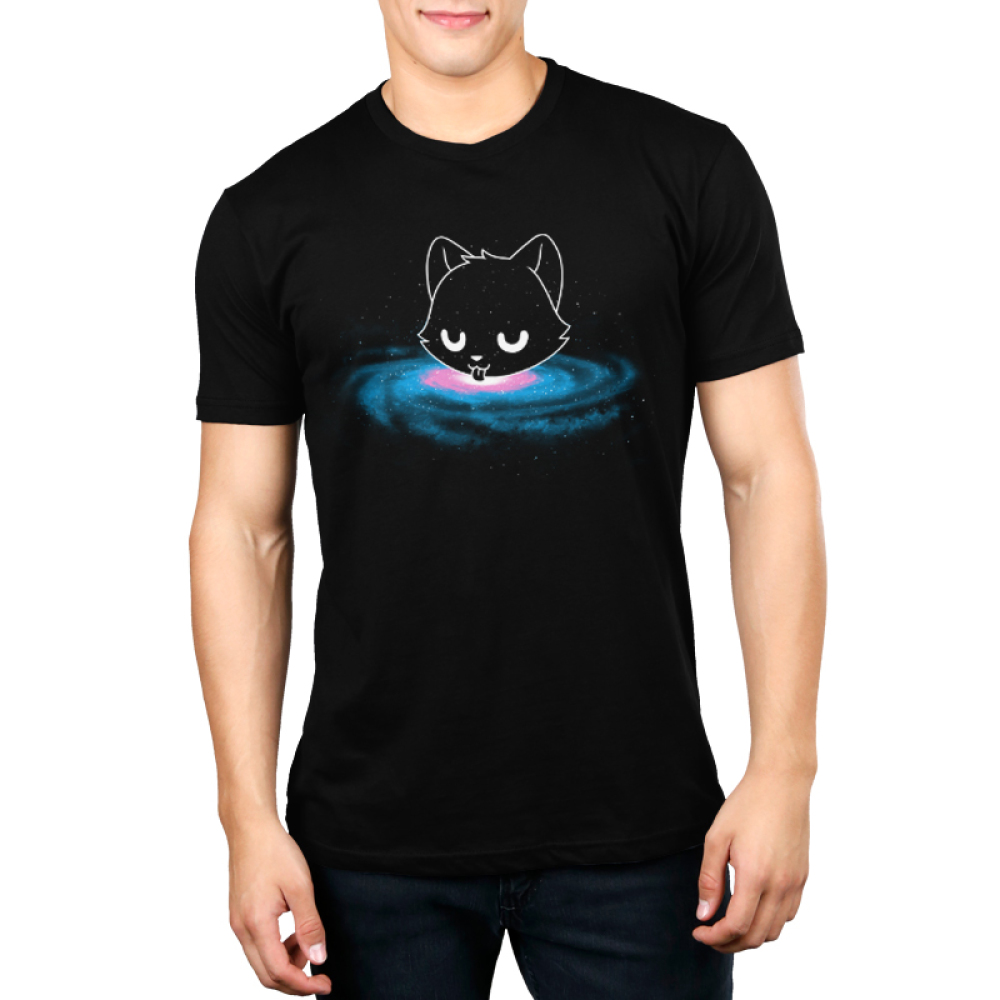 Milky Way Men's t-shirt model TeeTurtle black t-shirt featuring a cat head in outer space surrounded by stars licking from the Milky Way