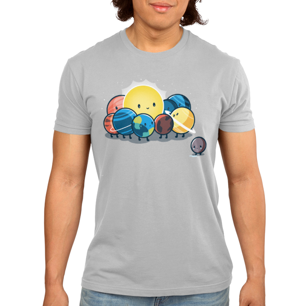 Dwarf Planet Men's t-shirt model TeeTurtle silver t-shirt featuring a sad Pluto next to the smiling sun, Earth, Mercury, Venus, Mars, Jupiter, Saturn, Uranus, and Neptune
