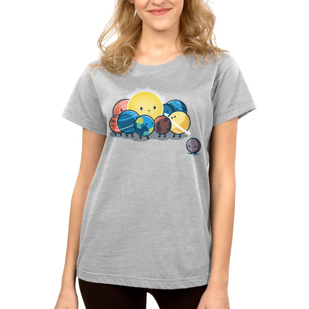 Dwarf Planet Women's t-shirt model TeeTurtle silver t-shirt featuring a sad Pluto next to the smiling sun, Earth, Mercury, Venus, Mars, Jupiter, Saturn, Uranus, and Neptune