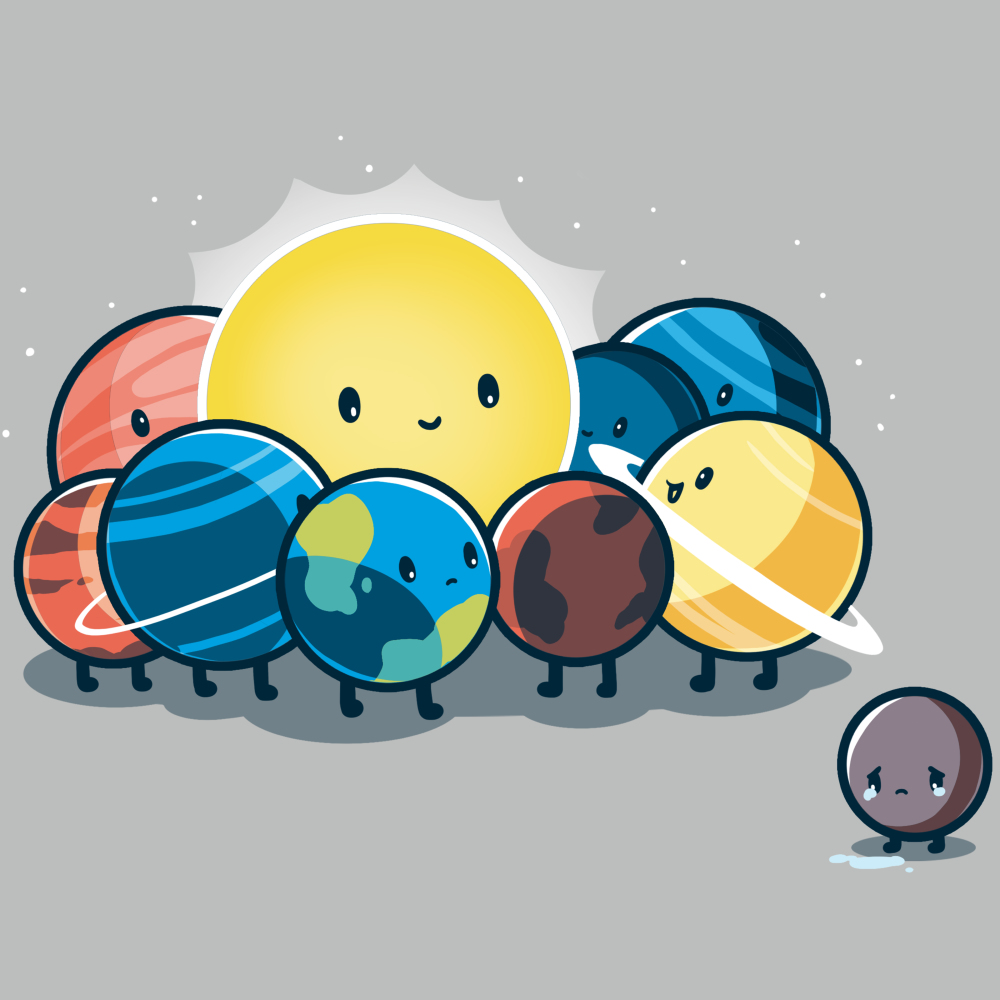 Dwarf Planet t-shirt TeeTurtle silver t-shirt featuring a sad Pluto next to the smiling sun, Earth, Mercury, Venus, Mars, Jupiter, Saturn, Uranus, and Neptune