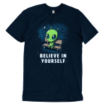 Believe in Yourself! t-shirt TeeTurtle navy t-shirt featuring an alien sitting on a bench surrounded by stars and the moon